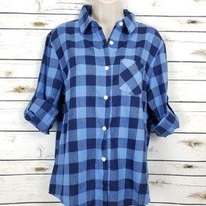 Blue Plaid Medium Long Roll Up Sleeves Pocket